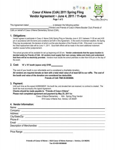 New Cda Spring Fling Vendor Agreementpdf Coeur Dalene