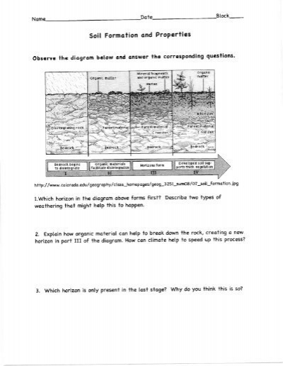 Soil Formation And Properties Worksheet Pdf Lurgio Pod 8
