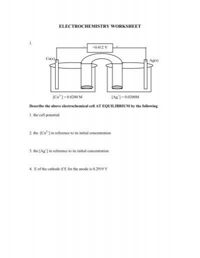 electrochem worksheet 2. Black Bedroom Furniture Sets. Home Design Ideas