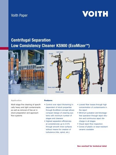 Centrifugal Separation Low Consistency Cleaner Ks900
