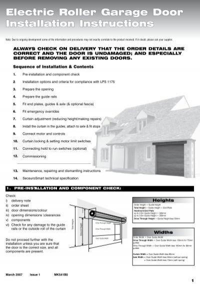 Electric Roller Garage Door Installation Instructions Security