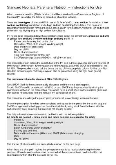 Parenteral Nutrition Nicu Prescribing Procedure