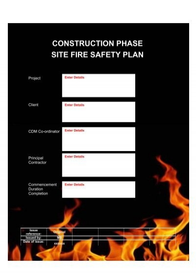Construction phase fire site safety plan template health for Cdm construction phase plan template