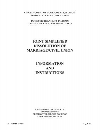 joint simplified dissolution of marriage/civil union