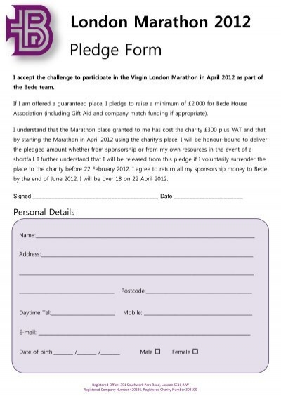 Pledge Form Walk MS – Pledge Form