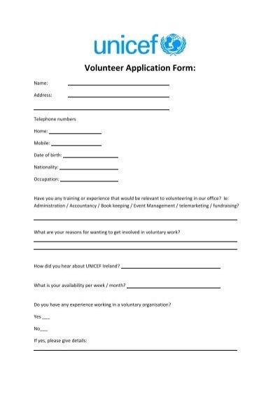 Volunteer Application Form: - UNICEF Ireland