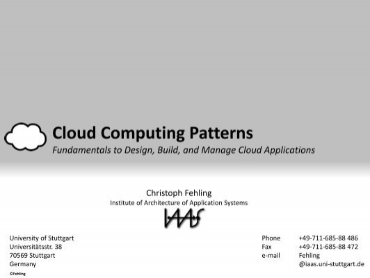 Cloud Computing Patterns Informatik Forum Stuttgart