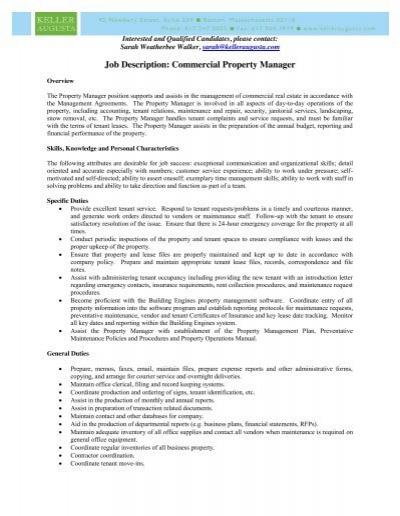 Job Description Commercial Property Manager – Property Manager Job Description