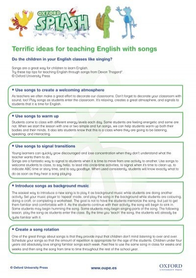 Terrific ideas for teaching English with songs - Oxford