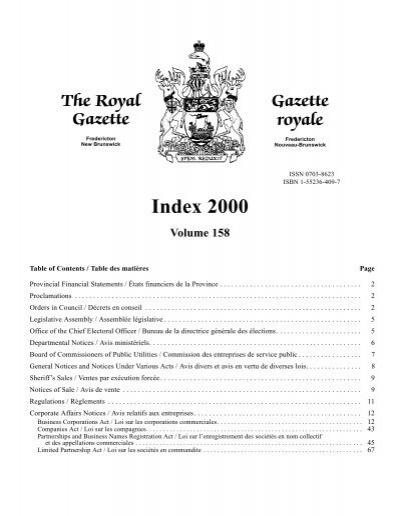 Index 2000 Volume 158 Gouvernement Du Nouveau Brunswick