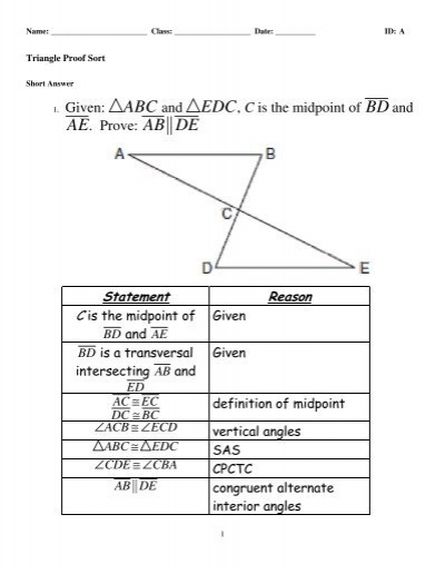 Triangle Proof Sort Answers