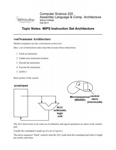 Topic Notes Mips Isa Courses