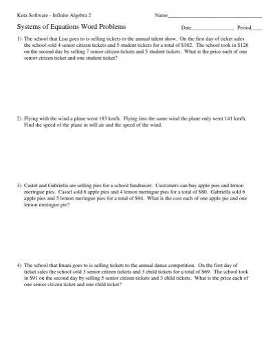 Printables. Two Step Equations Word Problems Worksheet ...