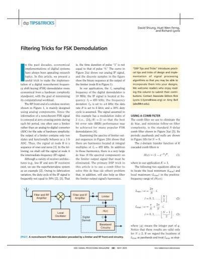 Filtering Tricks for FSK Demodulation - IEEE Xplore