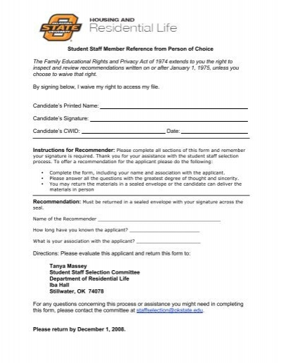 Student Staff Reference Form-Reference of Choice - OSU