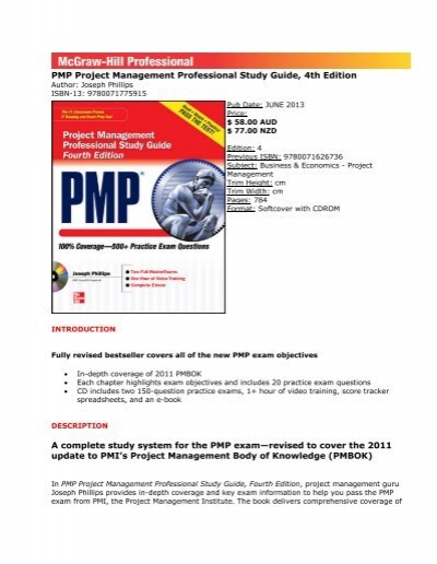 pmp project management professional study guide 4th edition a rh yumpu com Kim Heldman PMP Study Guide Karin's PMP Study Guide