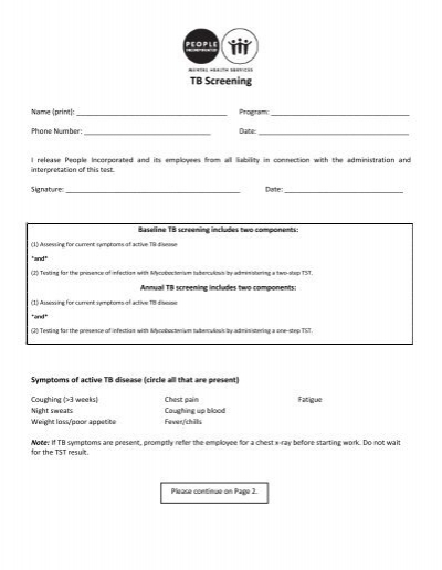 TB PPD Skin Test Screening Form