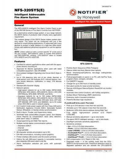 Fire Alarm System Notifier Fire Alarm System Manual