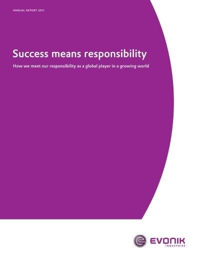 Success Means Responsibility Evonik