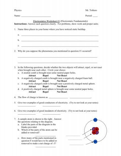 Worksheets Electrostatics Worksheet electrostatics worksheet electric fields potential problems