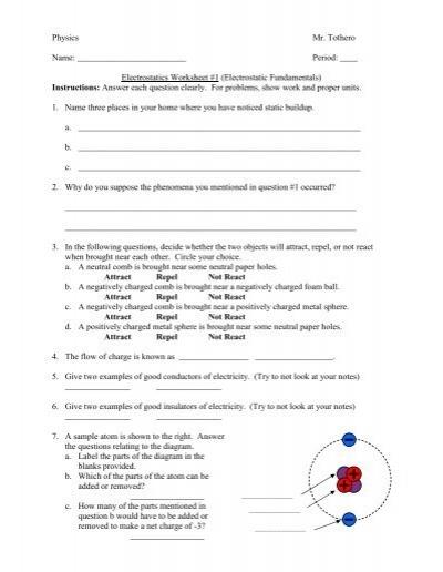 Printables Electrostatics Worksheet electrostatics worksheet davezan 1