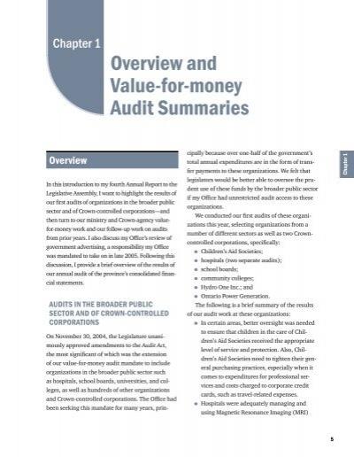 value for money audit report