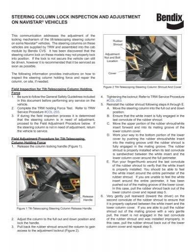 BW2903 Steering Column Bulletin indd - Bendix