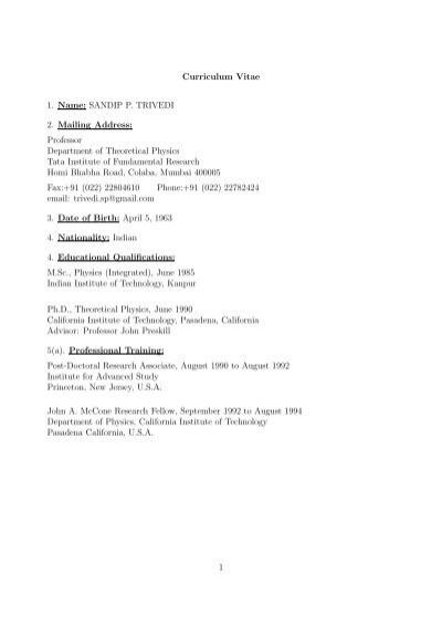 curriculum vitae 1 name sandip p trivedi 2 mailing address
