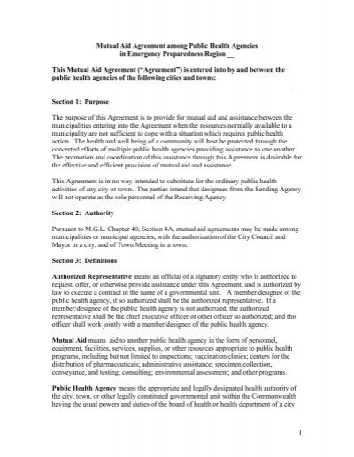 Mutual Aid Agreement Template