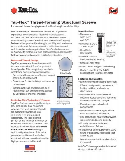 Tap-Flex™ Thread-Forming Structural Screws - Infastech