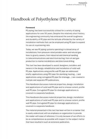sc 1 st  Yumpu & Handbook of Polyethylene (PE) Pipe - Forward - Plastics Pipe Institute