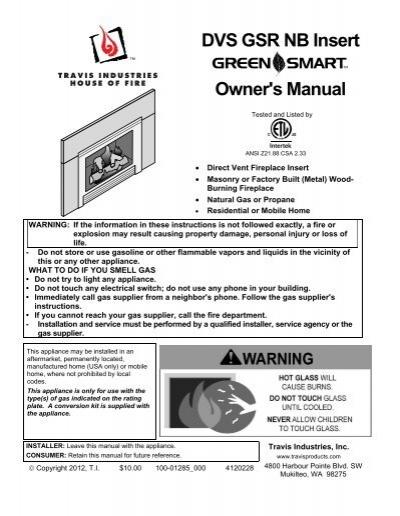 Dvs Gsr Nb Insert Owner S Manual Travis Industries Dealer