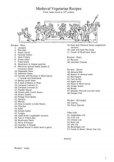 Medieval Vegetarian Recipes - NVG Inc