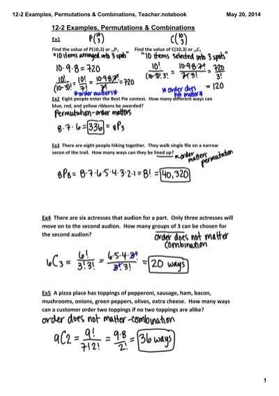 12-2 Examples, Permutations & Combinations, Teacher.notebook