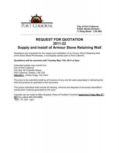REQUEST FOR QUOTATION 2011-22 Supply and Install of Armour