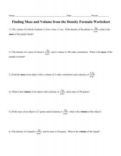worksheets mass volume density worksheet opossumsoft worksheets and printables. Black Bedroom Furniture Sets. Home Design Ideas