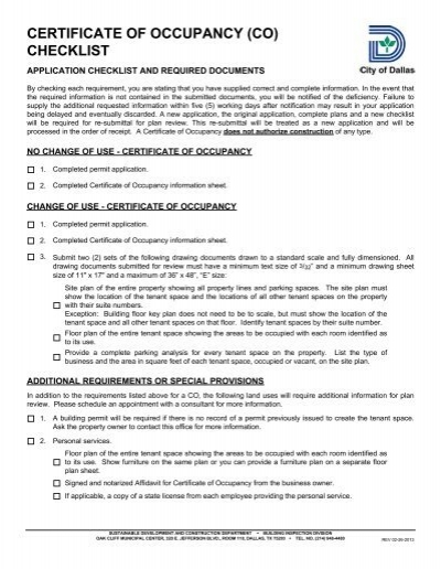 CERTIFICATE OF OCCUPANCY (CO) CHECKLIST - City of Dallas