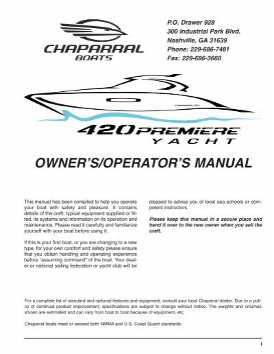 owner s operator s manual chaparral boats owners club rh yumpu com Customer Service Books chaparral snowmobile service manual