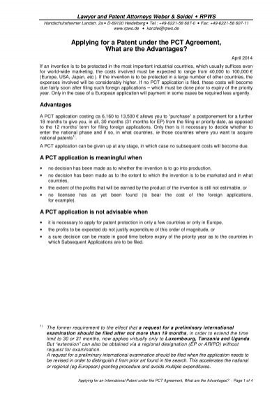 Applying For A Patent Under The Pct Agreement What Are The