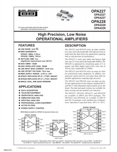OPA227P OPA227 High Precision,Low Noise Operational Amplifiers DIP8