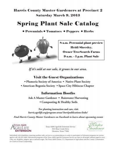 Spring Plant Sale Catalog Harris County Master Gardener