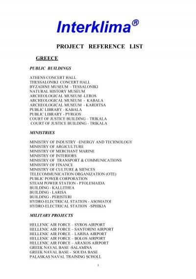 REFERENcE LIST PROJECT BUSINESS Kapo – Business Reference List