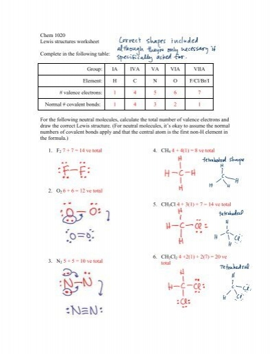 Lewis Structures & Molecular Geometries Worksheet