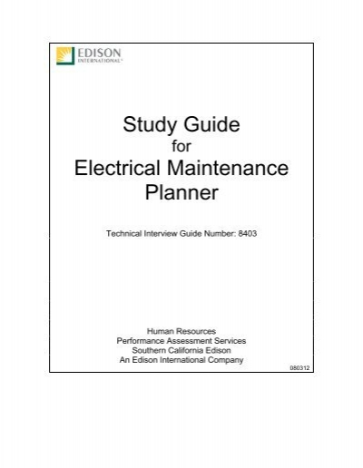 [CSDW_4250]   Maintenance Planner, Electrical Interview Guide (Test 8403) | Electrical Planner |  | Yumpu