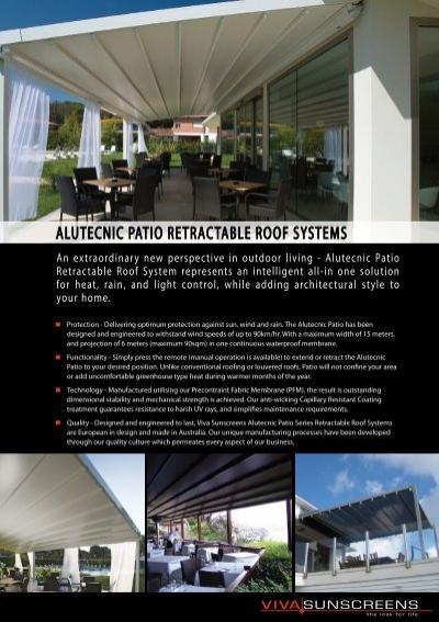 Alutecnic Patio Retractable Roof Systems   Viva Sunscreens