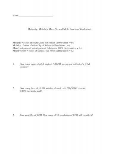 Molarity Molality Mass And Mole Fraction Worksheet