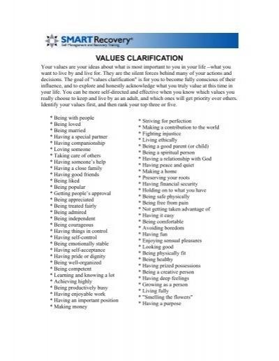 Values Clarification Smart Recovery