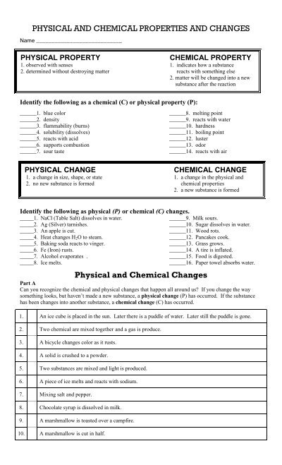 Physical and Chemical Changes in Matter Webquest