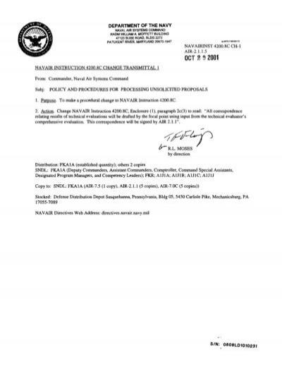 Navair Inst 42008c Unsolicited Proposals