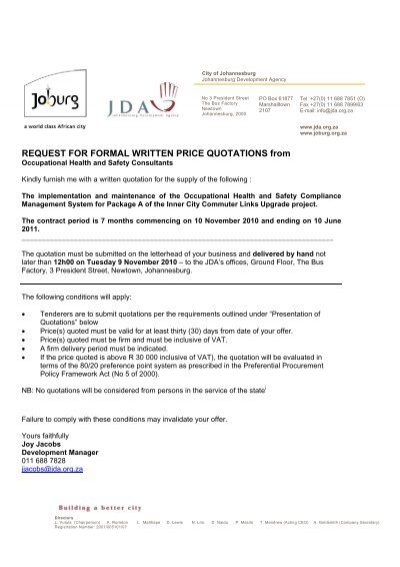 REQUEST FOR FORMAL WRITTEN PRICE QUOTATIONS ... - the JDA